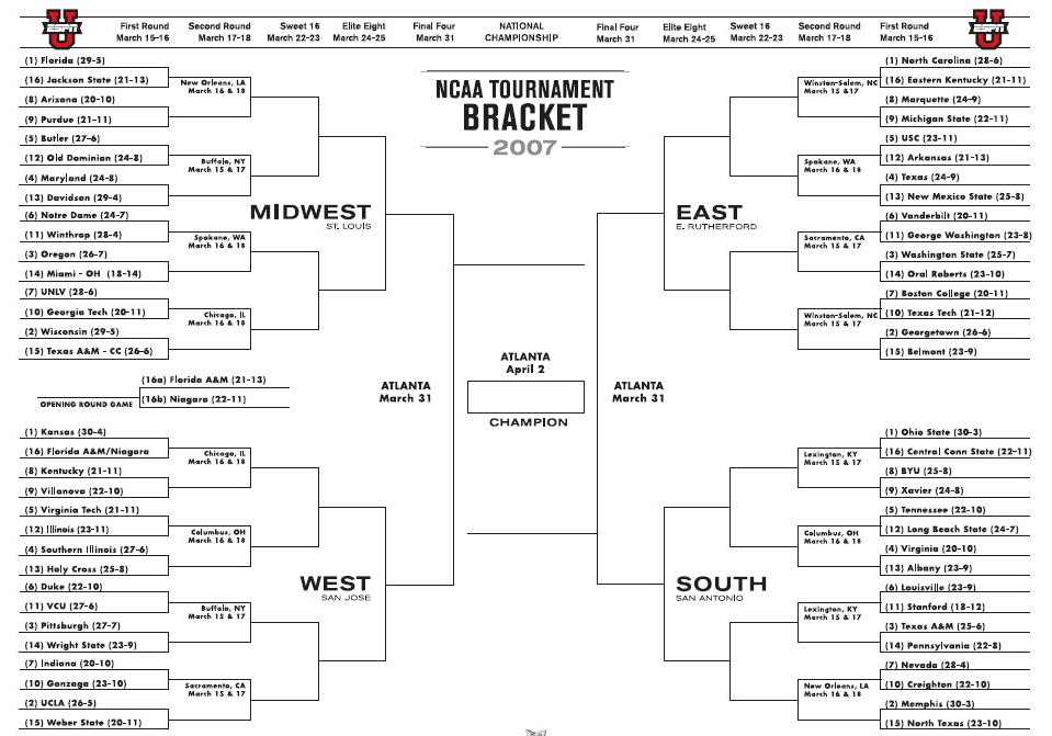 NCAA Tournament Bracket 2007